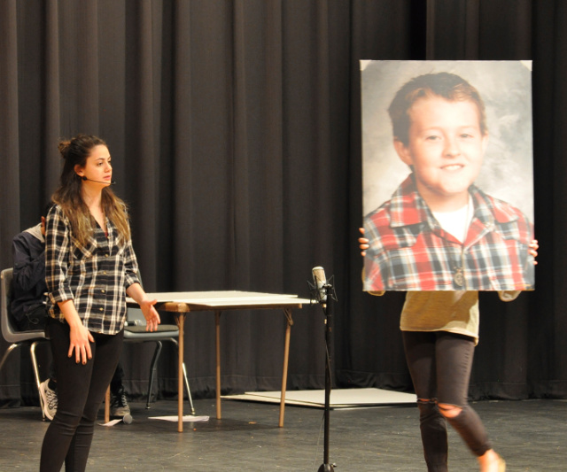 MWAH! troupe member Taylor Oechsel comments about the unexplained suicide of 12-year-old Joshua Wilson of Geneseo. Her comments were followed by the song 'Why.' The story and photos were by Jerry Lindsey, editor of the Whiteside News-Sentinel.